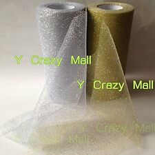 6' Gold/Silver Glitter Tulle Roll Spool Wedding Bow Decoration Craft Tutu 25Y