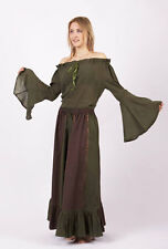 Medieval Renaissance Pirate Gothic Gypsy Wench Peasant Bell Sleeved Top(Olive)