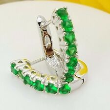 New Sterling Silver Huggie Style Pave Set CZ Emerald Green Latch Back Earrings