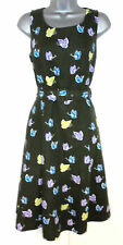 Laura Ashley Butterfly Print Linen Cotton Mix Belted Evening Day Dress Size 12