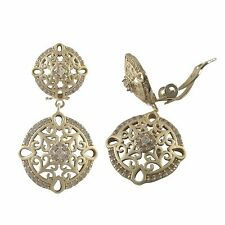 Gold Plated Sterling Silver Filigree Circle Dangle Clip On Earrings