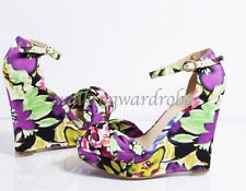 FLORAL Shoes Size 5 NINE WEST Ankle Strap WEDGE Multi-coloured KNOT High Heels
