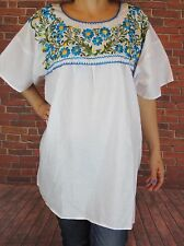 WHITE PEASANT BOHO PUEBLA SILK EMBROIDERED BLOUSE TOP XXL