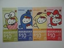McDonald's Hello Kitty Bubbly Day Food Coupons Expired Set of 4 Free Airmail