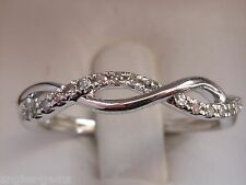 NEW 1/10ct Diamond Stackable Twist Twine Ring Band - 10K White Gold- Sz 7