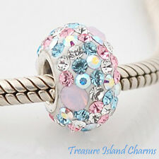 MULTI-COLORED DOTS CZ CRYSTAL .925 Sterling Silver EUROPEAN EURO Bead Charm