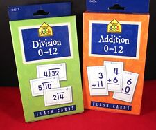 Lot of 2 Educational 0-12 Flash Cards Addition & Division
