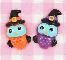 6 x HALLOWEEN Owls & Witches Hats Cabochon Embellishments Decoden Kawaii Craft