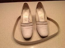 Vintage Airstep Ladies Cream Heels Pumps Shoes W/ Matching Leather Belt Size 6.5
