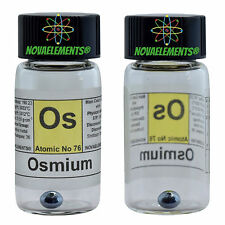 Osmium metal element 76 Os sample 1 gram 99,99% pellet in glass vial + label