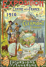 Art Ad Clermont Excursions Auvergne 1910 French Travel Expo  Deco  Poster Print