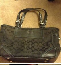 RARE Coach Black with Turquoise Stitching Tote