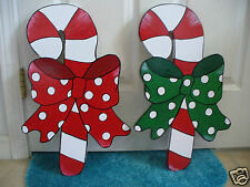 2- HAND MADE,HAND PAINTED CANDY CANES CHRISTMAS YARD ART DECORATION