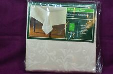 Holiday Time Christmas Tablecloth Oblong 60in x 84in  Intricate Embroidery