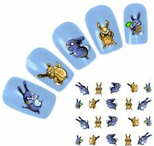J102 NAGELSTICKER Nail Angry Bunny Hase Kaninchen Glitzer water-transfer Fingern