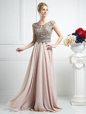 Women's Beaded Long Chiffon Evening Party Formal Bridesmaid Prom Gown Dress