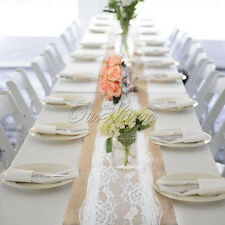 Natural Hessian Burlap Table Runner with Lace Vintage Rustic Decor for Wedding