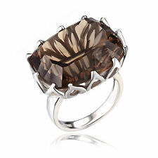 New Large 20ct Genuine Smoky Brown Quartz Ring 925 Sterling Silver Size 6