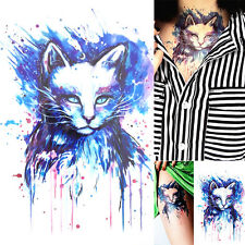 Women Waterproof Cool Colorful Cat Arm Leg Back Temporary Tattoo Sticker Decor