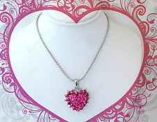 ROSE PINK CRYSTAL HEART NECKLACE SET BIRTHDAY GIFT FOR HER GIRLS TEEN WOMEN MOM