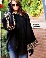 Women's Fleece Cheetah Trimmed Poncho Cape One Size