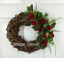 LARGE SILK ROSES BERRIES HARVEST WREATH HANDMADE DECOR AUTUMN HOME DECORATION