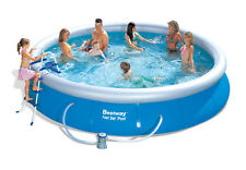 "Bestway 15' x 36"" Fast Set Swimming Pool Set Inflatable Ring with Pump & More"