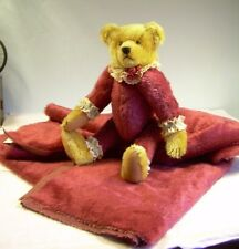 "MOHAIR Vintage 50"" x 57"" 3/8"" pile Royal BURGANDY WINE teddy bear + crafts 1.4yd"