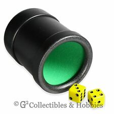 New Dice Cup Black Plastic w Green Cloth Lining Yahtzee
