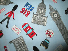 BRITISH LONDON UK SITES LIGHT BLUE COTTON FABRIC FQ