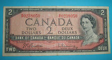 CANADA  BANCONOTA 2 DOLLARO 1954  Serie BR0238050 TWO - DEUX Dollars