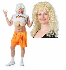 Droopers Hooters Waitress Mens Stag Fancy Dress Outfit + Blonde Curley Wig