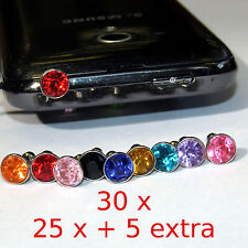 30 = (25x + 5)  Bling Diamond Mixed Crystal 3.5mm Earphone Jack  Dust Plug Cap