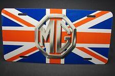 MG METAL CAR LICENSE PLATE MORRIS GARAGES EMBLEM ON BRITISH FLAG UNION JACK