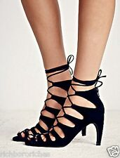 NIB Free People Jeffrey Campbell black suede Ankle Lace Up Heel Sandal 10 $198