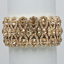 Elegant Bridal Formal Gold Colorado Topaz Crystal Stretch Bangle Bracelet