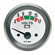 Tim Voltmeter Gauge Kit 52mm, White Face, Including Fittings (700027)