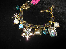 BETSEY JOHNSON ICONIC ENCHANTED TEAL AN PEARLS DRAGON FLY & FLOWER BRACELET
