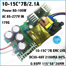 2PCS AC85-277V 100W By CE LED Driver 10-15x7 2.1A DC30-48V Constant Current 90%