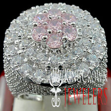 MENS BIG XXL REAL WHITE GOLD SILVER PINK TOURMALINE JUMBO RING BAND LAB DIAMOND
