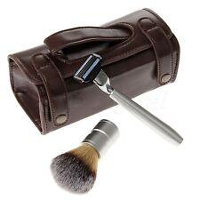 Shaving Razor & Badger Hair Brush + PU Leather Case Men's Travel Toiletry Bag