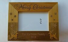 Personalized Laser Engraved 4x6 Picture frame Merry Christmas Lastname and year