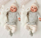 3PCS Infant Baby Boy Girls Bodysuit Hat Romper T-shirt Pants Outfits Clothes Set