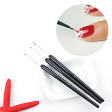3PCs DIY Acrylic French Nail Art Liner Painting Drawing Pen Brush Tool Set