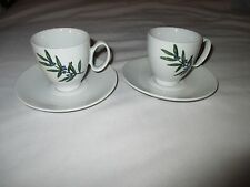 2 Guy Degrenne White Porcelain Coffee Espresso Cups & Saucers - Olive  Design