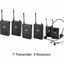 Professional Sets UHF Tour Guide Wireless System 1 Transmitter 5 Receivers