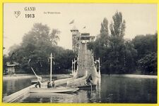 cpa BELGIQUE Expo 1913 GAND Attraction Manège LE WATERCHUTE TOBOGGAN Barque
