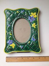 Ceramic Floral Picture Frame Oval Photo Green Blue Yellow Flowers Unusual EUC!