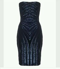 MICHELLE KEEGAN BY LIPSY SEQUINED BANDEAU NAVY DRESS SIZE 10 NEW WITH TAGS