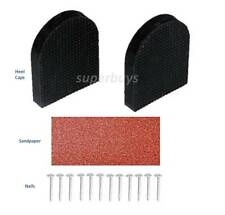 Rubber 4.2 x 5cm Shoe High Heel Tip Stiletto Repair Kit 2 Caps 12 Nail Sandpaper